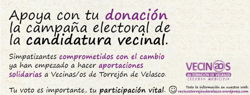 Colabora económicamente en la campaña de Vecinas y vecinos de Torrejón de Velasco