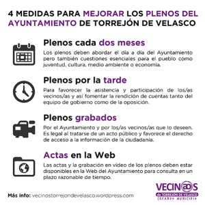 4 medidas mejora plenos Torrejón de Velasco4 medidas mejora plenos Torrejón de Velasco