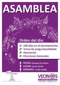 Cartel Asamblea vecinal 25 octubre