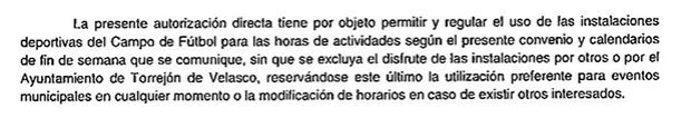 Extracto del convenio Ayuntamiento Torrejón de Velasco - Junior Soccer