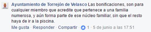 Comentario Facebook Ayuntamiento Torrejón de Velasco