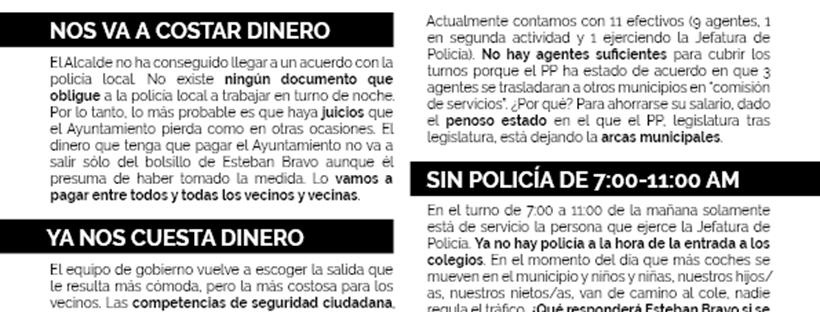 Escrito sobre imposición turno de noche a policía local