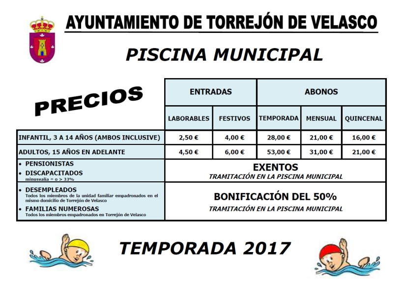 Precios Piscina Municipal 2017